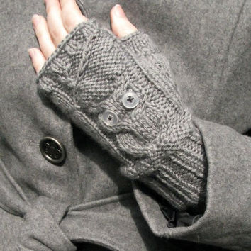 Custom knitted owl fingerless gloves by hazy999 on Etsy