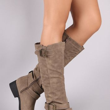 Triple Buckled Strap Riding Knee High Boots