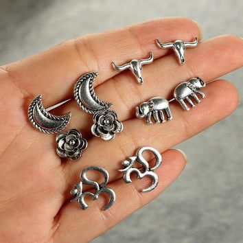 5 Pairs/set Fashion simple Bohemia style moon/flower/elephant/yak earrings 171120