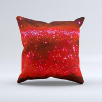Glowing Bright Red Orbs of Light  Ink-Fuzed Decorative Throw Pillow