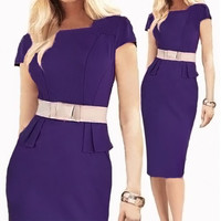 Short Sleeve Bodycon Midi Dress with Belt