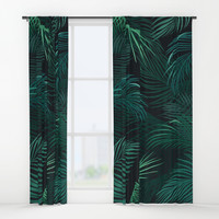 Palm leaves Window Curtains by printapix