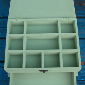 Light Green Shabby Chic Home Decor Wooden Jewelry Box