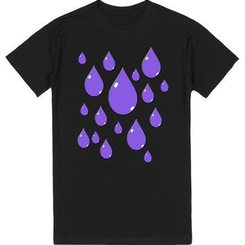 Purple Rain Drops on Black | T-Shirt | SKREENED