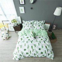 Cactus Printing Bedding Set 100% Cotton Bedding Adults Kids Bedroom Sets Duvet Cover Sets Bed Sheet Pillowcase Cartoon Bedding