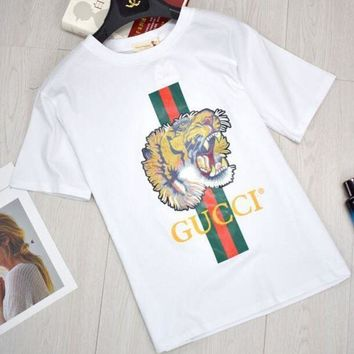 ESB3DS GUCCI Women Tiger Letter Print Cotton Loose T-Shirt Top Black Spring Summer