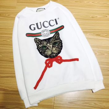 GUCCI HOT SALE Fashion Women Round neck letters printed loose long sleeve sweater