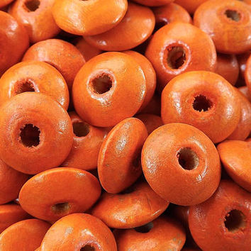 Tangerine Orange Saucer Disc Wood Beads Varnished Plain Simple Round Disc Craft Wooden Bead Spacers 14 x 5mm - Choose 25pcs, 50pcs or 100pcs