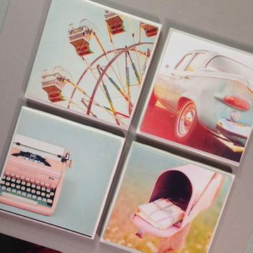 Vintage style photo coasters, Ferris wheel, old typewriter, pink mailbox, old pale blue car coasters, wedding favor coasters, 50s wedding