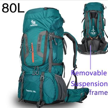 80L lightweight Mountaineering Bag Large Capacity  Trekking Rucksack Outdoor Backpack  Hiking Camping Tent  aluminum A5111