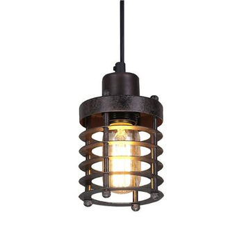 LNC Retro Bronze Cage Pendant Lighting