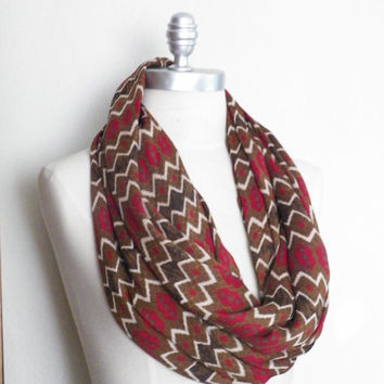 Circle Scarf, Infinity Scarf, Red Brown, Chevron Zig Zag Print, Lightweight Loop Scarf