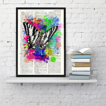 Wall art home decor. Watercolor collection Butterfly 02 Printed on Vintage Dictionary Book page. Wall decor , wall hanging butterfly art