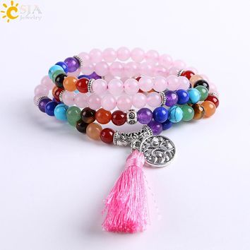 CSJA Friendship Diffuser Bracelets for Girls Reiki Healing 7 Chakra Mala Yoga Beads Pink Quartz Gem Stone Multilayer Bangle E659