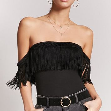 Off-the-Shoulder Fringe Bodysuit