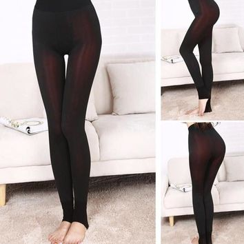 Solid Thick Fleece Winter Women Leggings Ankle-Length Mid Casual Warm Slim Leggings