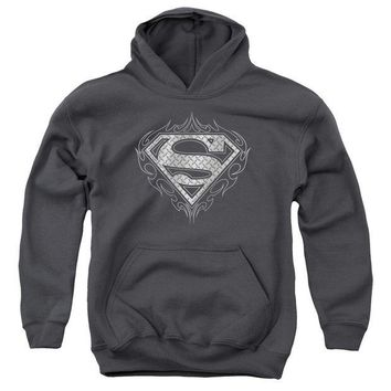 ac NOOW2 Superman - Tribal Steel Logo Youth Pull Over Hoodie