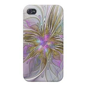 Floral abstract and colorful Fractal Art iPhone 4/4S Cover