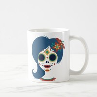 Decorative funny Mexican women skull head Coffee Mug
