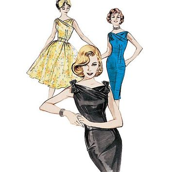 60s Inspired Plus Size Cocktail Party Dress Sewing Pattern, Full Skirt or Wiggle Skirt, Reissue of 1960 Butterick 6582 Sz 18-20-22 uncut