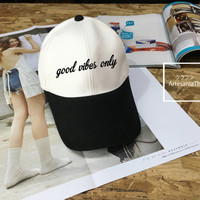 Good Vibes Only Baseball Cap, Cool hat, Low-Profile Baseball Cap Hat Tumblr Inspired Pastel Pale Grunge