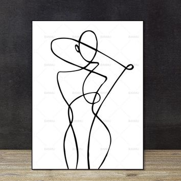Wall Pictures Poster Canvas abstract print figure decor modern Wall art on canvas painting art print Brief strokes art portrait