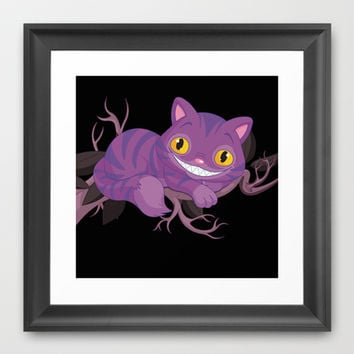 Cheshire Cat Mischevious Grin Cat / Purple Wonderland Alice  Framed Art Print by Cabinet Of Pretty Things