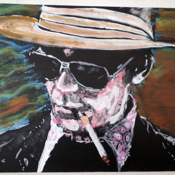 Original Colorful Painting Hunter S Thompson - Gifts for Him - Fun Artwork - Hand Painted Art on Canvas - Synesthesia Painting - Home Decor