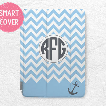 Nautical anchor blue Striped monogram custom name iPad Smart Cover personalized case for iPad mini, iPad mini 2 retina, iPad Air, iPad Air 2