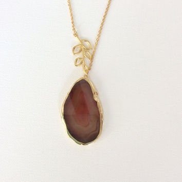 Red Agate Slice Necklace with Tree Branch Connector and Gold Tone Chain