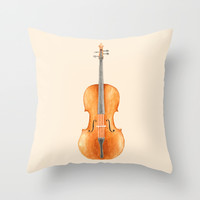 Cello - Watercolors Throw Pillow by Speakerine / Florent Bodart
