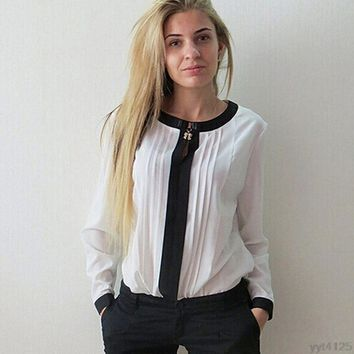 Solid Long Sleeve Chiffon Pleated Patchwork Slim Tops