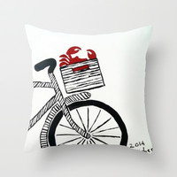 Crab Basket Throw Pillow by Michelle Silsbee