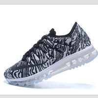 """""""NIKE"""" Trending AirMax Toe Cap hook section knited Fashion Casual Sports Shoes Black white zebra(black lace up) Transparent soles"""
