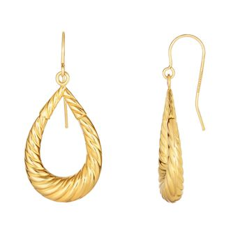 10k Yellow Gold Double Sided Twisted Textured Graduated Tear Drop Earring