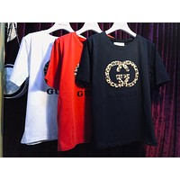 GUCCI 2019 new style brand leopard double G logo men and women round neck pullover top