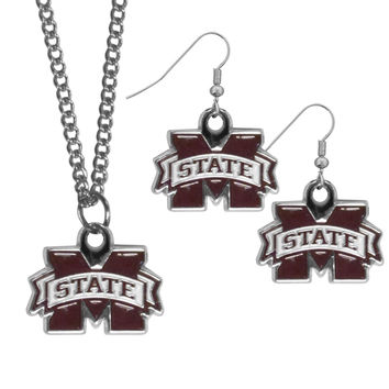 Mississippi St. Bulldogs Dangle Earrings and Chain Necklace Set