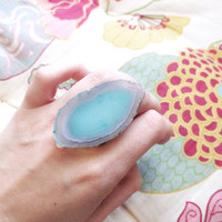 Turquoise Agate Slice Ring, Adjustable Ring, Mint Turquoise,Gift for Her