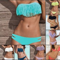 Sexy womens Padded Boho Fringe Top Strapless Dolly 2pcs Set Bikini Swimwear SML
