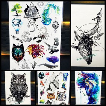 New Beautiful Diamond Whale Dolphin Temporary Tattoo Waterproof 3D Arrow Fish Tatoo For Men Women Body Art Fake Tattoo Stickers