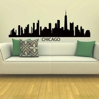 Wall Decal Vinyl Sticker Dubai Skyline City Scape Silhouette Chicago Sb102