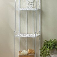 Delicate Lace Design White Metal Shelving Rack