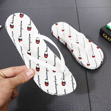 Champion Fashion New More Letter Print Walk And Take A Shower Slippers Flip Flops Leisure Shoes Women White