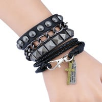 Puck Rock Bracelet Fashion Bracelet Black Leather Bracelet Cuff men leather bracelet women leather bracelet  S002-BL