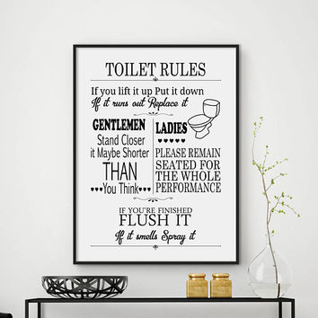 Toilet rules, bathroom rules, toilet sign, toilet rules sign, toilet print, bathroom rules sign, toilet humour, funny toilet print, DIGITAL