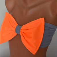 Padding neon orange and gray bow swimsuit bandeau bikini top spandex bandeau bow bandeau bikini bow bikini top women's fashion