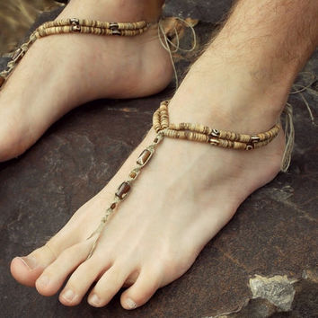 Mens Barefoot Sandals Beach Footwear Dudes Surf Foot Jewelry Beach Sandals Brown Tribal Beads Toe thong bottomless shoe