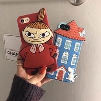 Moomin Yamei silica gel mobile phone case for iPhone X 7 7plus 8 8plus iPhone6 6s plus -171113