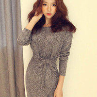 Gray Long Sleeve Waist Tie Mini Dress