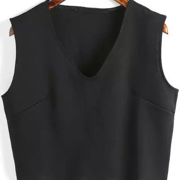 Black V Neck Sleeveless Cropped Tank Top